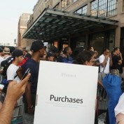 People await the sale of Apple iPhone 4