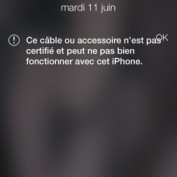 iOS 7 Bloque Cable Lightning non Apple