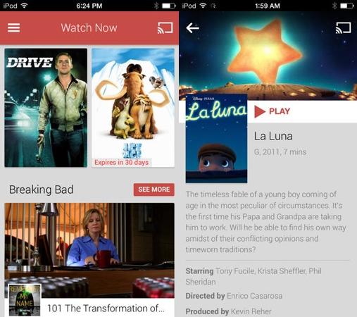 Google Play Films et TV iPhone