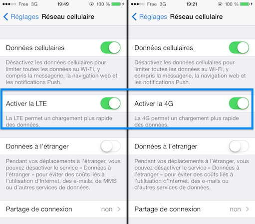 Comment activer la 4g free iphone